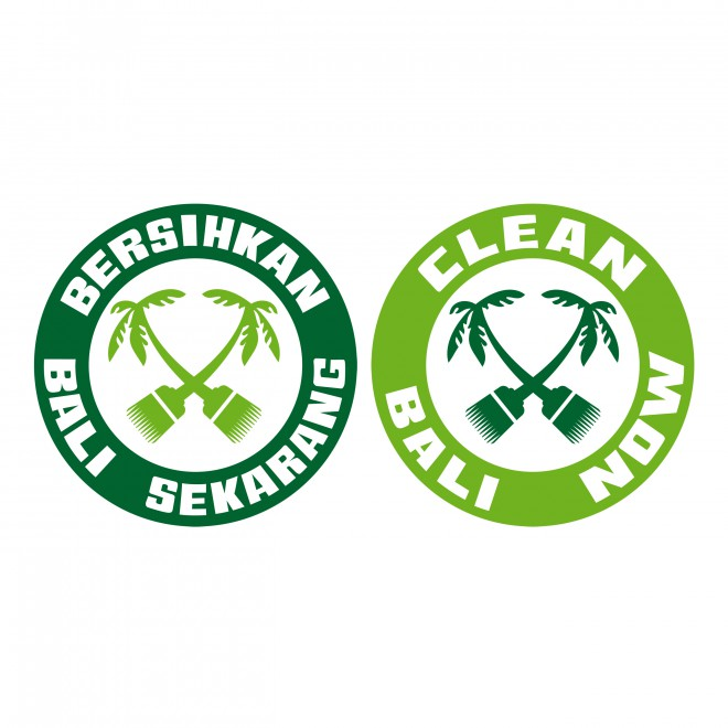 Clean Bali Now Logo auf Bahasa Indonesia und in English