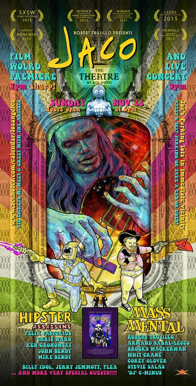 """Poster für die Film-Welt-Premiere """"Jaco"""" mit Mass Mental und Hipster Assassins Konzert in Los Angeles"""