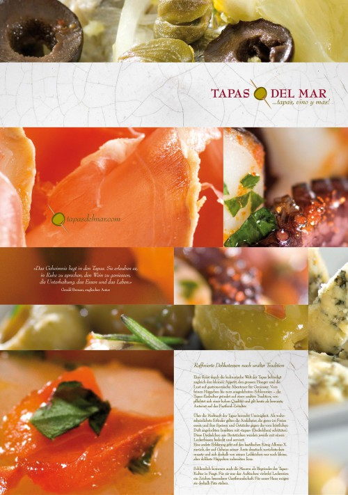 Tapas Del Mar Menu Card