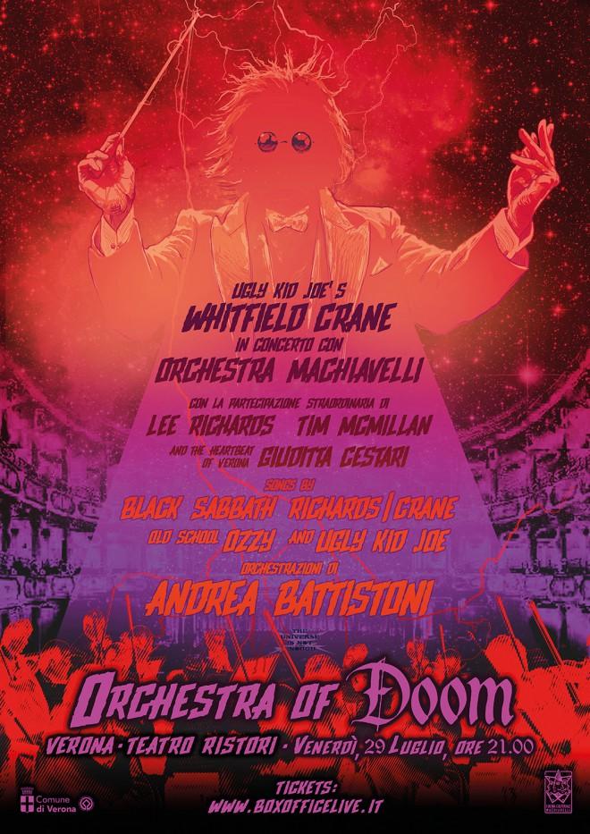"""Whitfield Crane und das Orchestra Machiavelli spielen Black Sabbath Richards-Crane Ozzy und Ugly Kid Joe als das """"Orchestra of Doom"""" in Verona"""